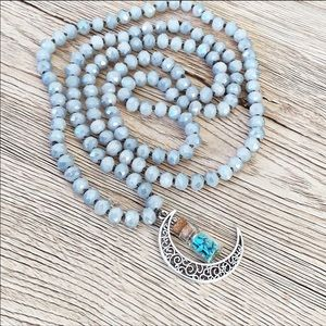 Mystic Moon Crystal Beaded Mala Style Necklace